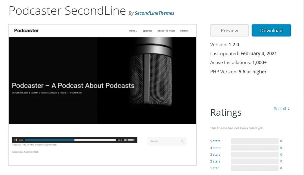 Tema Podcaster SecondLine WordPress