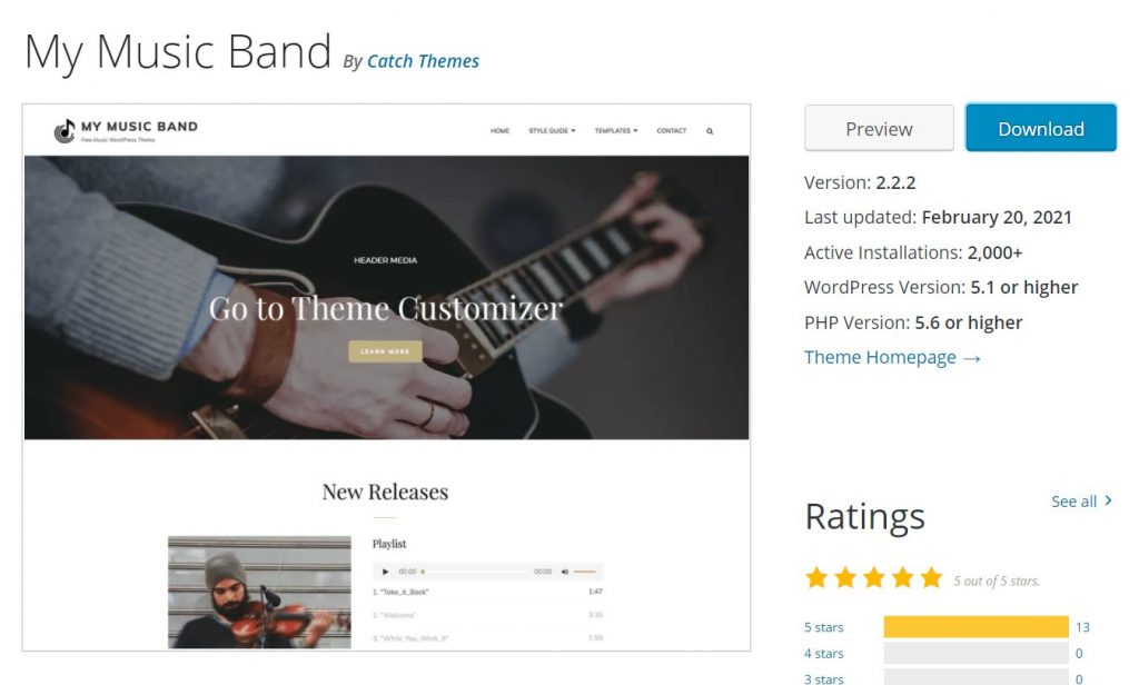 Tema My Music Band WordPress