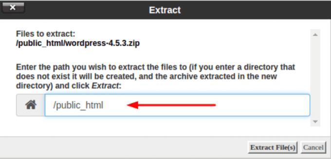 Pastikan file diextract di public_html