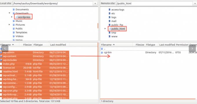 Upload dan extract file melalui FTP Filzilla