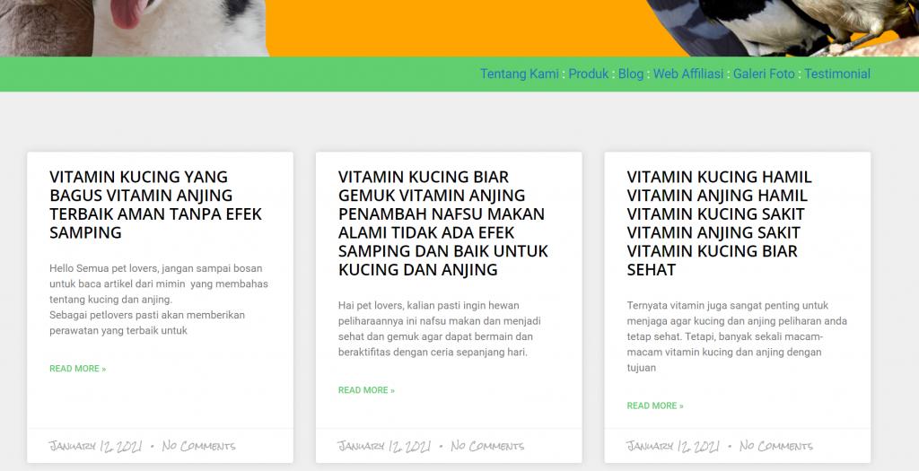 Laku Pet Shop aktif memposting konten blog