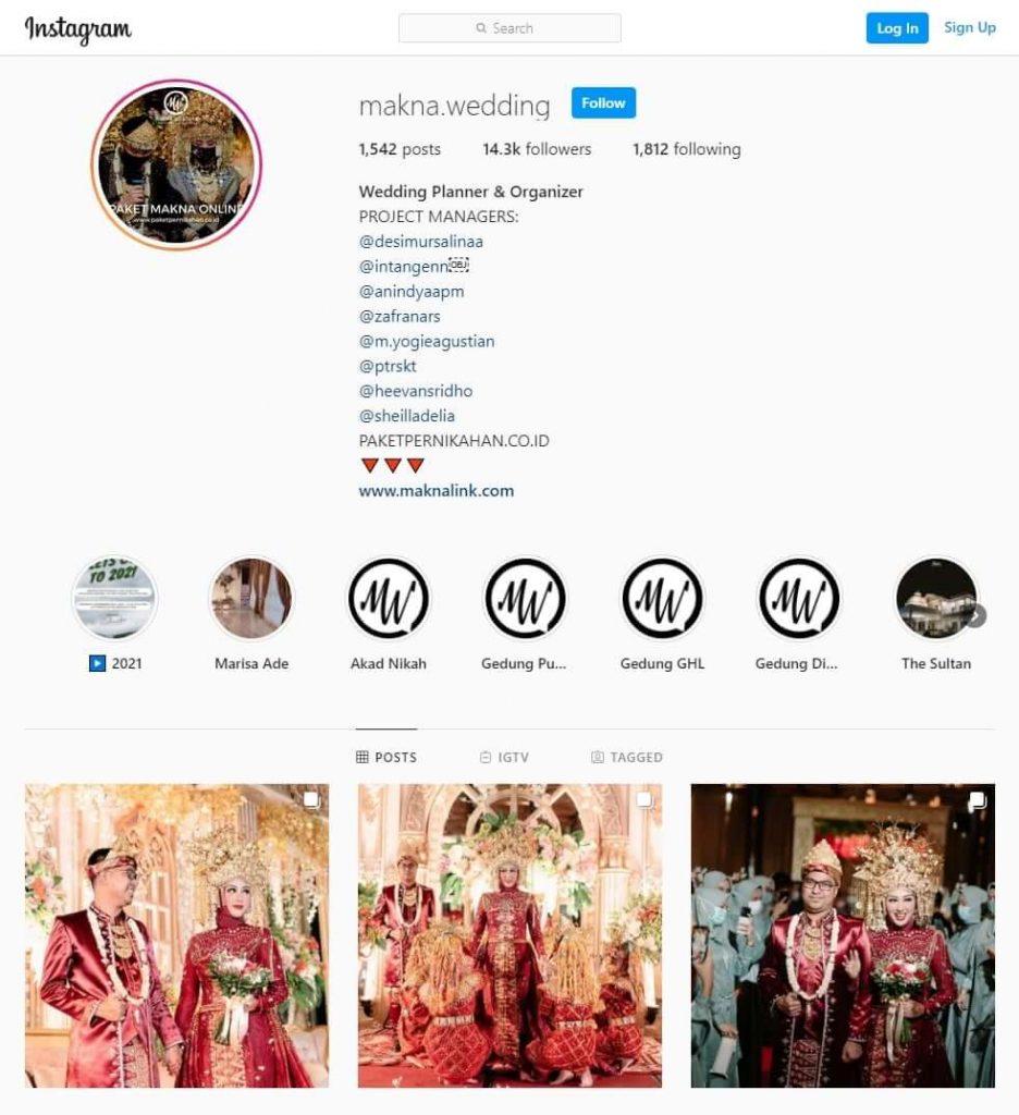 Akun Instagram Makna Wedding