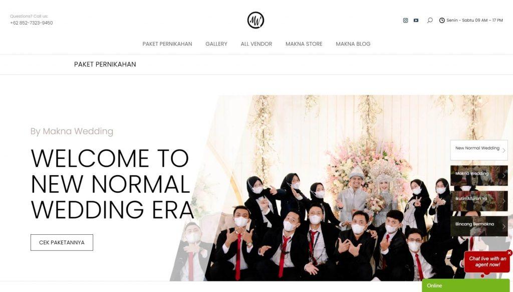 Homepage website Makna Wedding