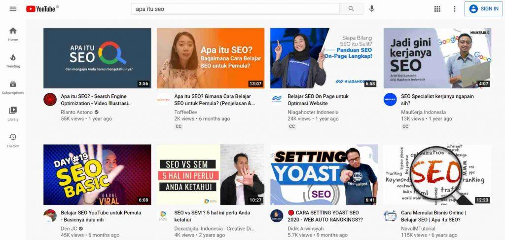 contoh hasil penelusuran atau search result algoritma youtube