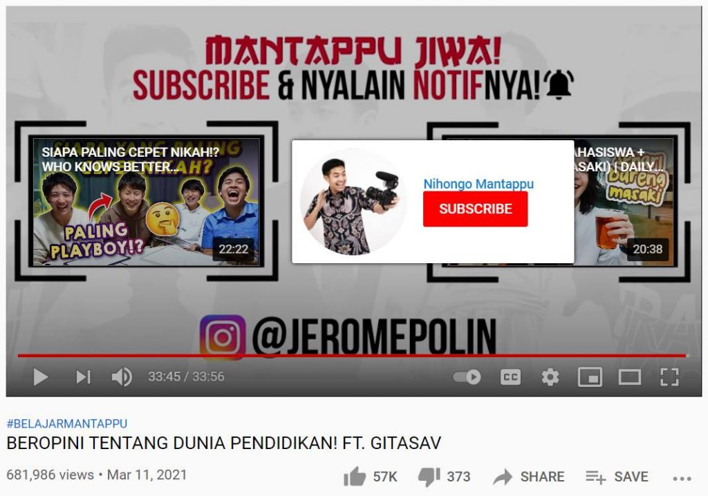 contoh call to action untuk subscribe youtube