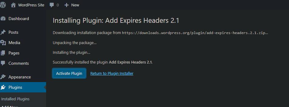 Instal plugin Add Expires Header