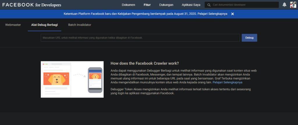 tampilan utama halaman sharing debugger