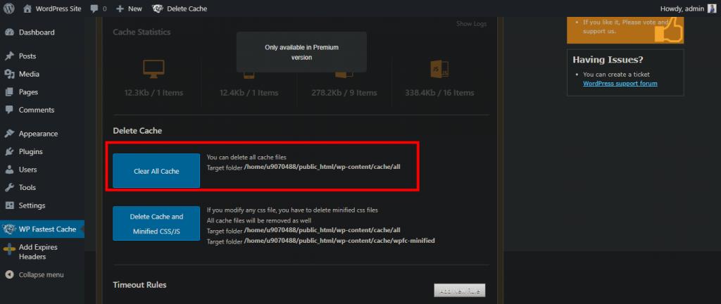 Memilih menu clear all cache di WordPress