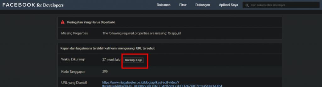 Menggunakna scrape again untuk melakukan clear cache Facebook.