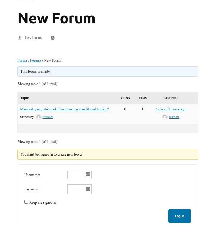 halaman depan website forum