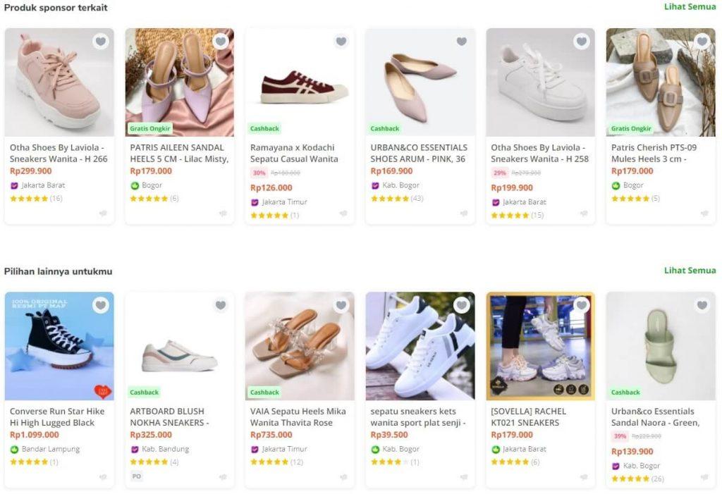 Contoh produk terkait di marketplace