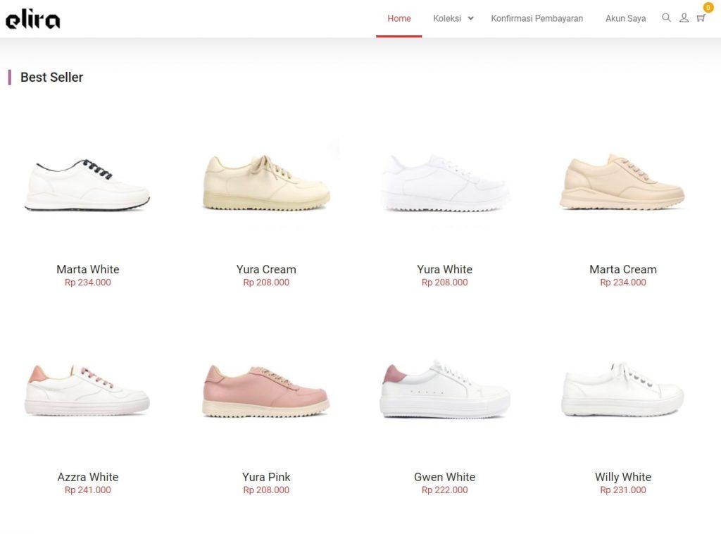 Daftar produk di website Elira