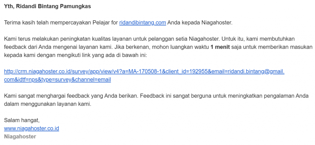 email feedback niagahoster