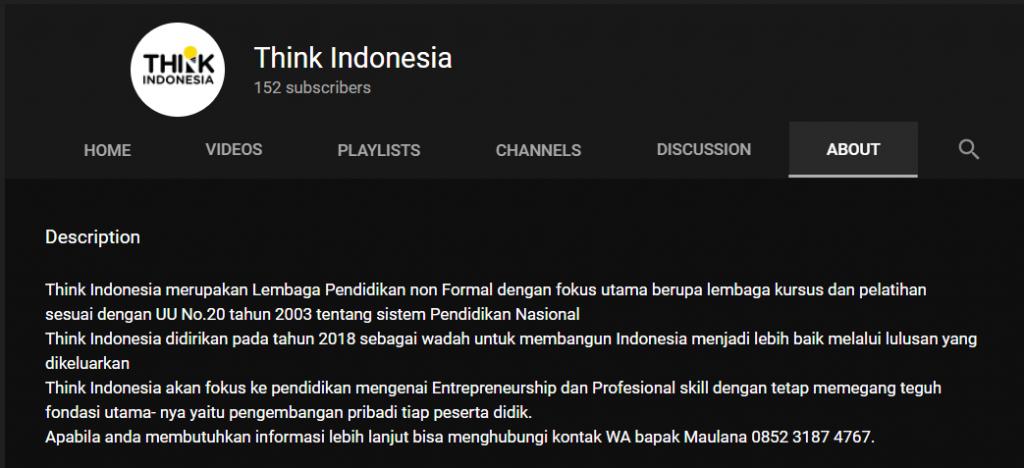 Think Indonesia melengkapi Halaman About akun YouTube-nya