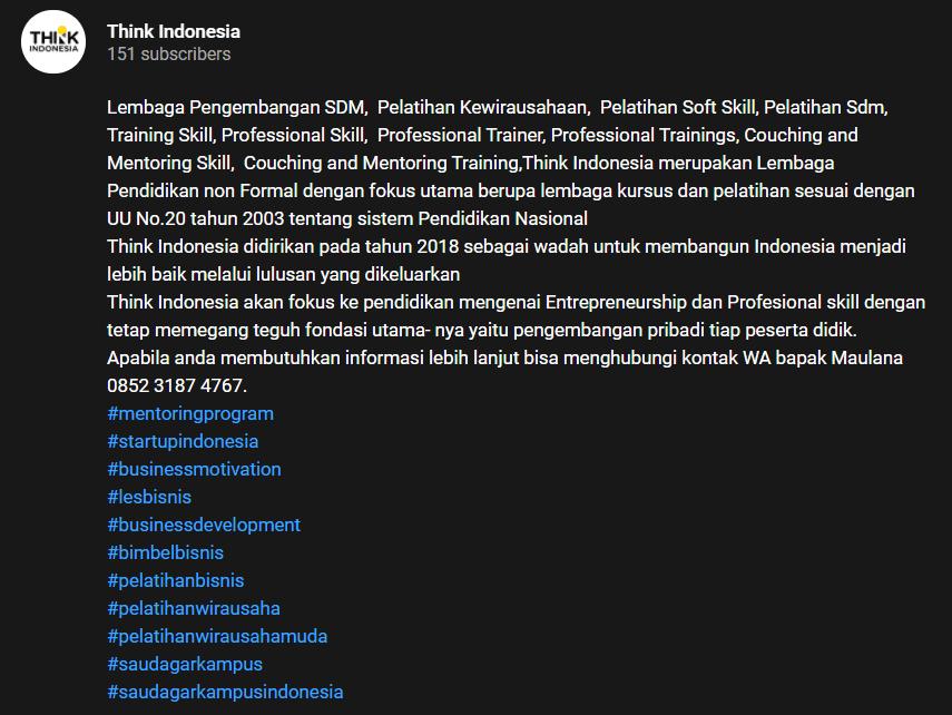 Deskripsi video lengkap sebagai bagian YouTube Marketing