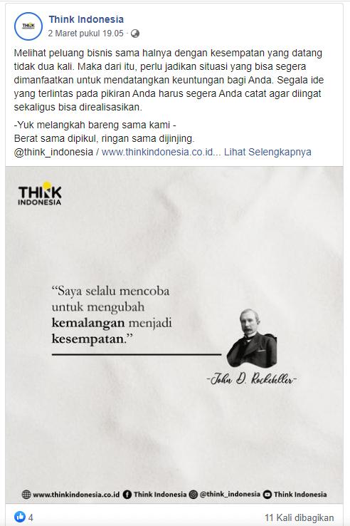 Postingan Facebook Think Indonesia cukup menarik
