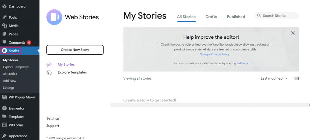 Plugin Web Stories berhasil terpasang