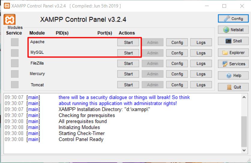 langkah kedua cara import database dari localhost ke web hosting adalah ambil database localhost melalui XAMPP