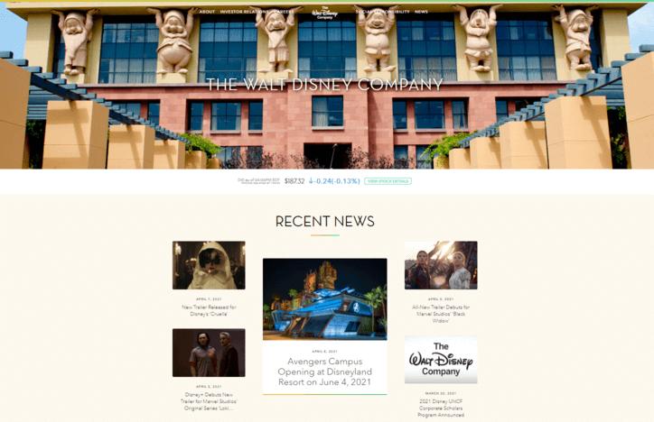 contoh website company profile walt disney