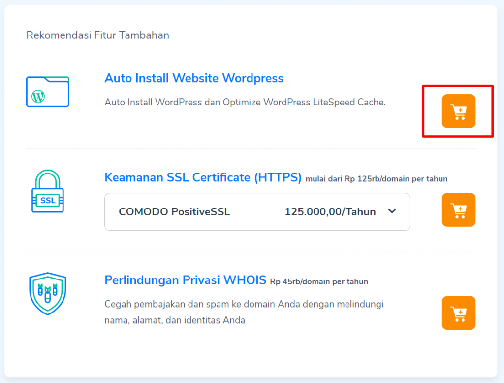 fitur auto instal wordpress di layanan hosting Niagahoster