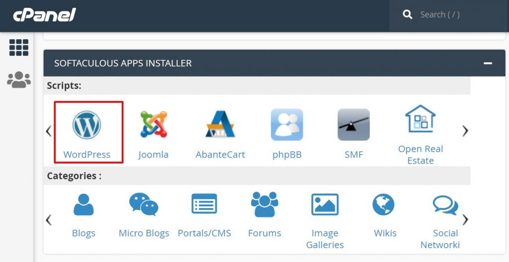 instal wordpress dengan menu softaculous