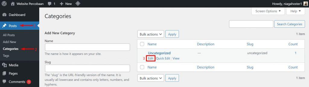 cara mengubah kategori blog di wordpress
