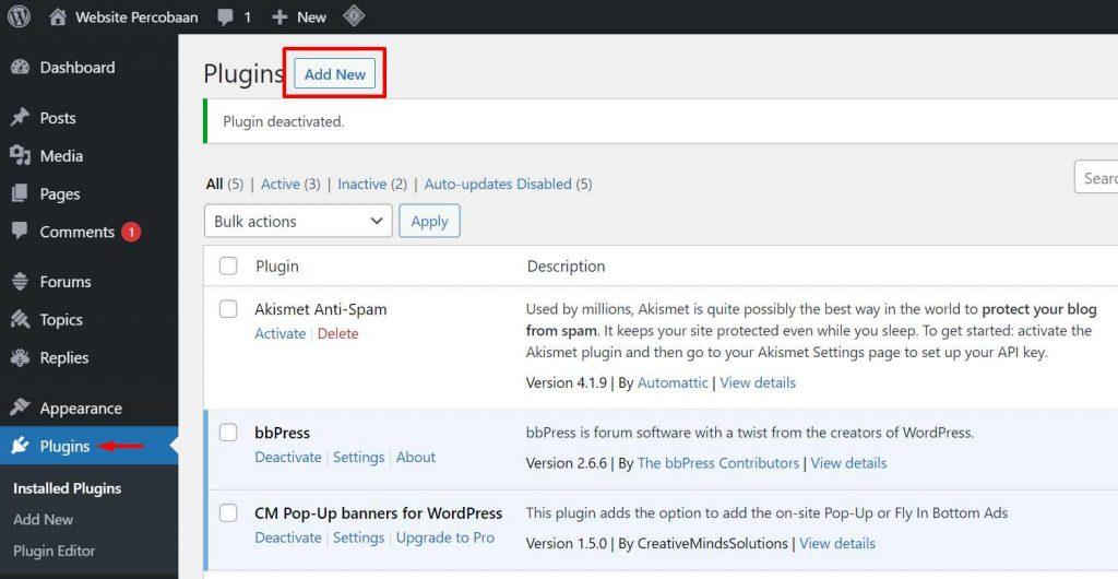 cara menginstal plugin wordpress