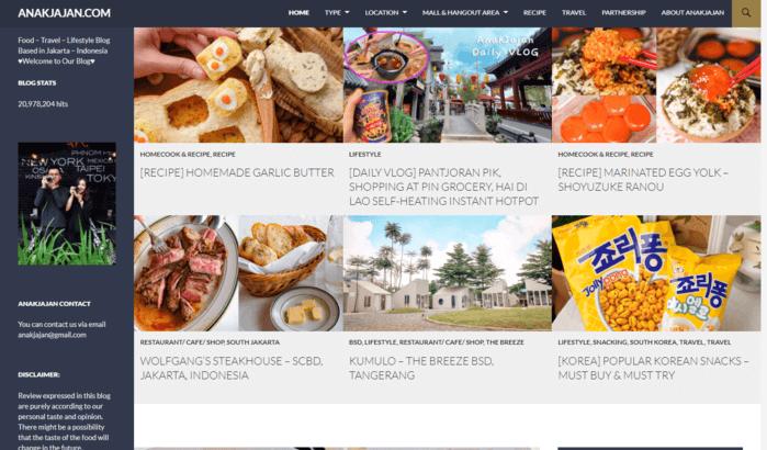 Anakjajan merupakan contoh food blogger sukses