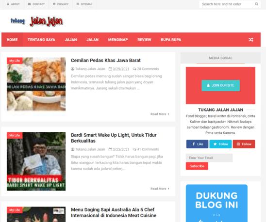 Salah satu contoh food blogger Indonesia adalah Tukang Jalan Jajan