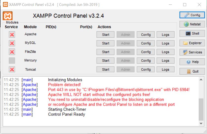 penyebab error port 443 XAMPP