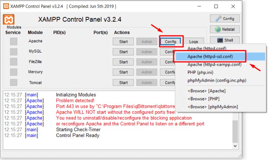 Langkah pertama cara mengatasi error port 433 XAMPP dengan konfigurasi manual