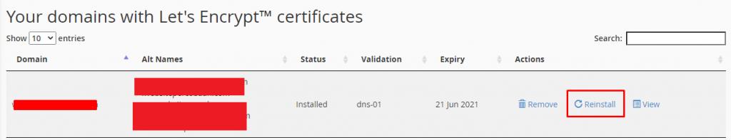Install ulang SSL melalui cPanel