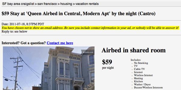 contoh growth hacking adalah AirBnB melalui Craigslist