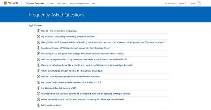FAQ Website Microsoft