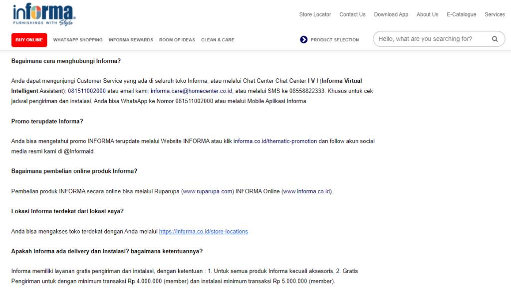 Contoh FAQ Website Informa