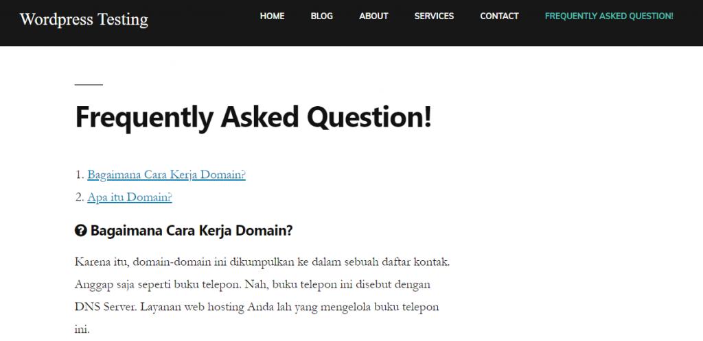 Tampilan FAQ Website Default Style