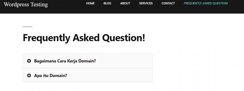 Tampilan FAQ Website Toggle