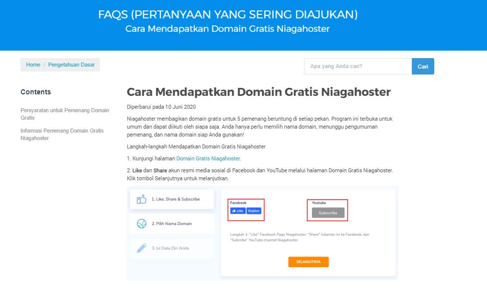 Menggunakan Screenshot di FAQ Niagahoster