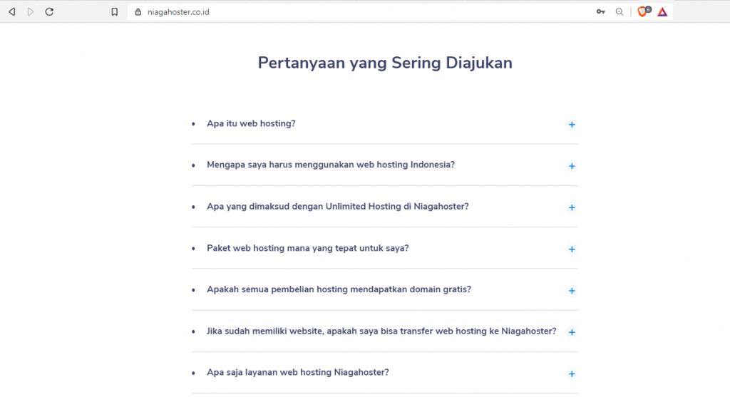FAQ Niagahoster Diletakkan di Halaman Utama Website
