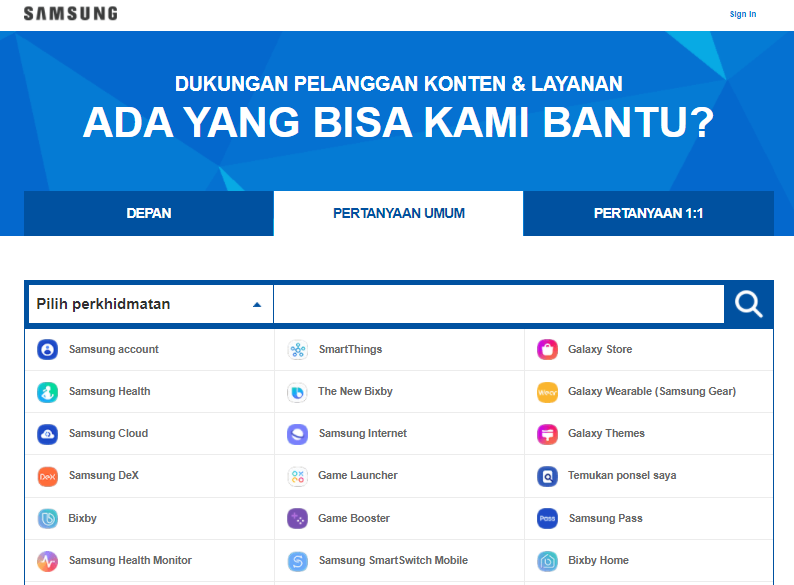 FAQ Website Samsung