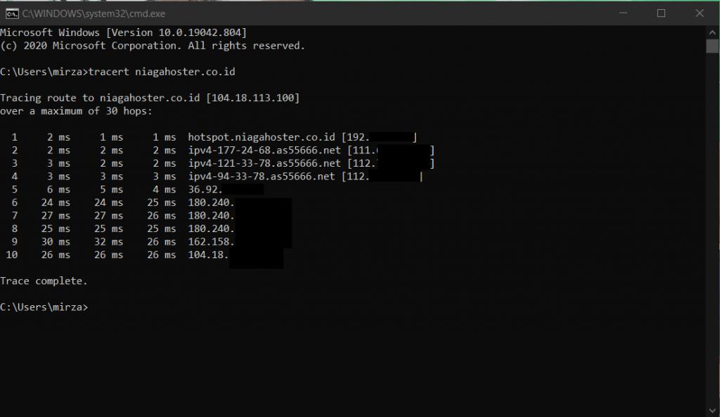 contoh tracert command ke niagahoster.co.id