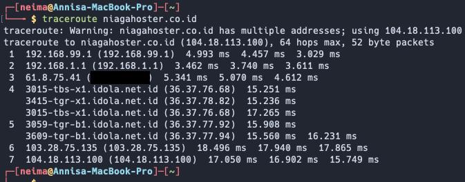 contoh tracert command di Mac ke niagahoster.co.id