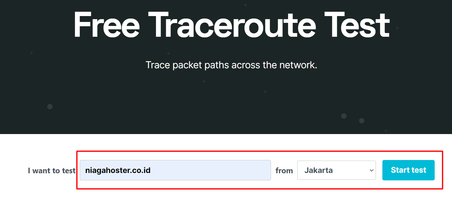 contoh tracert online ke niagahoster.co.id