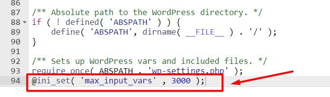 Meningkatkan max input vars Melalui wp config.php langkah ketiga