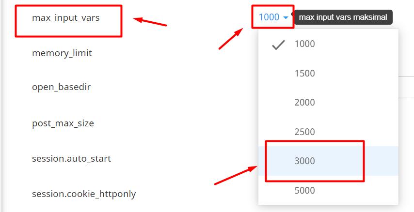 Meningkatkan max input vars Melalui php.ini langkah ketiga
