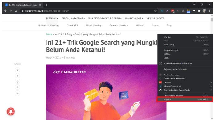 Cara cek responsive website dengan melakukan inspeksi melalui browser.