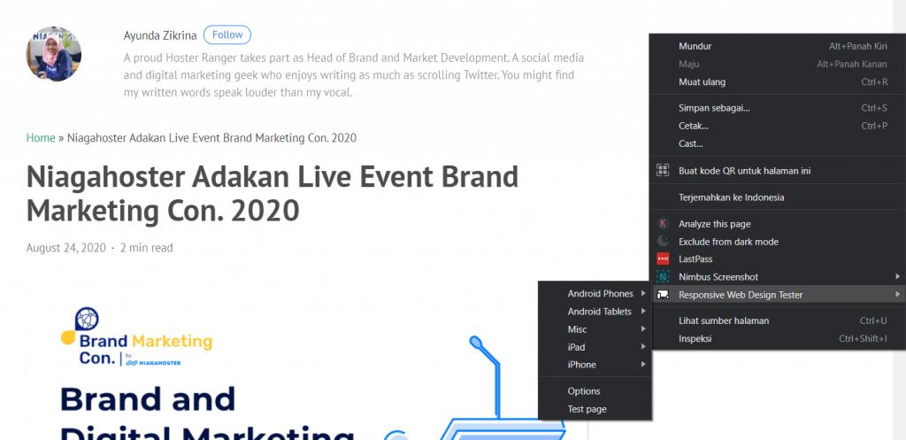 Klik kanan cursor dan pilih Responsive Web Design Tester