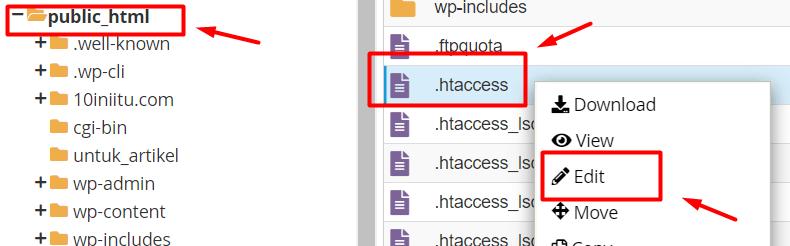 langkah kedua force https htaccess adalah dengan edit file htaccesss