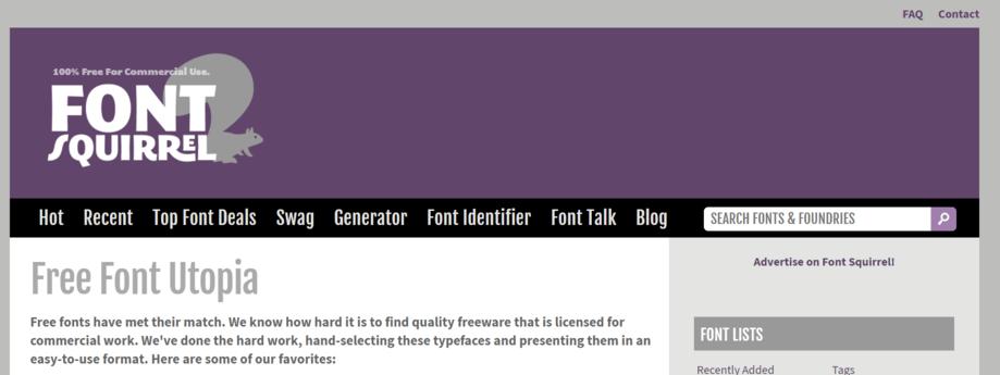 contoh website penyedia font keren adalah font squirrel