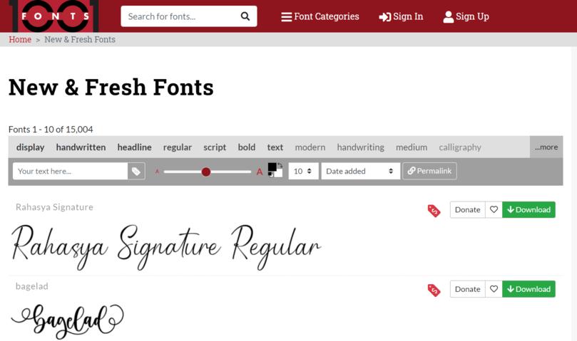 contoh website penyedia font keren adalah 1001 fonts